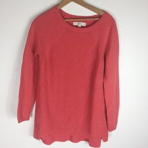 Loft Red Cable Knit Classic Stretch LP Sweater